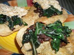 Black Bean Tostadas With Garlicky Greens
