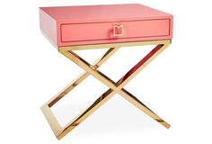 This campaign-style nightstand is so fun paired with other colors, or in an all-white room for a major pop of color!