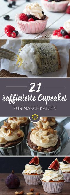 21 raffinierte Cupcake-Ideen Fruity, chocolaty or very original with Snickers and Coke? Here are your cupcake dreams come true – with as many as 21 delicious ideas. Cheesecake Recipes, Cupcake Recipes, Baking Recipes, Dessert Recipes, Cupcake Frosting, Baking Cupcakes, Cupcake Cakes, Big Cupcake, Sweet Bakery