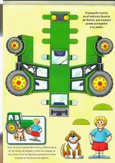 Óvodás Gyerekek: Kivágható farm Paper Crafts Origami, Paper Crafts For Kids, Cardboard Toys, Paper Toys, Art Drawings For Kids, Art For Kids, John Deere Crafts, Tractor Crafts, Imprimibles Toy Story Gratis