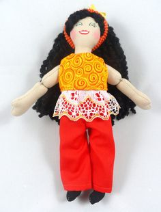 Dress Up Doll in Orange Doll Clothes by JoellesDolls on Etsy