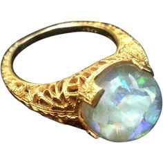 Vintage 1930's 14k Horace Welch Floating Opal Ring
