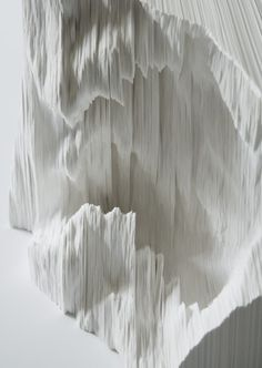 "Topographic Paper Landscapes by Noriko Ambe ""Started in '99, this is my life work. I individually cut single sheets of paper by free-hand and stack them together. The work consists of positive or negative shapes. I am trying to embody relationships among humans, time and nature."""