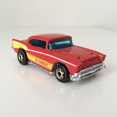 1980s Hot Wheels 57 Chevy - Toy Car, Metallic Red, Yellow, Classic Car, Diecast