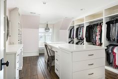 Walk in closet with long island with desk Cabinet Paint Colors, Bedroom Paint Colors, Interior Paint Colors, Interior Design, Wardrobe Closet, Walk In Closet, Closet Island, Magnolia Homes, Affordable Home Decor