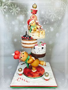 Tower cake Christmas - Cake by madlcreations Gravity Defying Cake, Gravity Cake, Crazy Cakes, Fancy Cakes, Pink Cakes, Noel Christmas, Christmas Treats, Christmas Cakes, Christmas Themed Cake