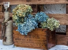 Still Life 200 Hydrangea Arrangements, Primitive Gatherings, Bouquet, Summer Garden, Porch Decorating, Dried Flowers, Fall Decor, Beautiful Flowers, Decorative Boxes