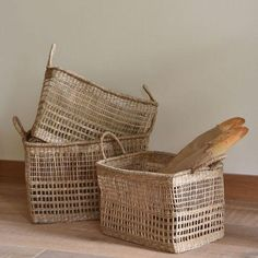 Set of Three Rectangular Seagrass Baskets - Natural