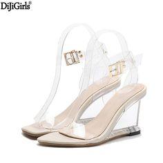 Crystal Shoes Women Fashion Ankle Strap High Heel Sandals Transparent Wedges  Heel Sandals 2018 Summer Gladiator Sandals Women fc62b635c05a