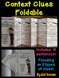 This foldable includes 15 sentences with words like shrewd, lark, and mirthful.  It focuses on 5 types of clues: synonyms (restatement), antonyms (contrast), inference, example, and definition.  $