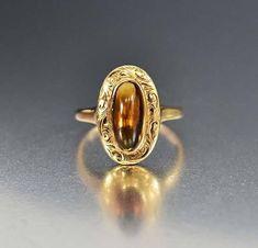 Antique Engraved 14K Gold Golden Citrine Ring – Boylerpf