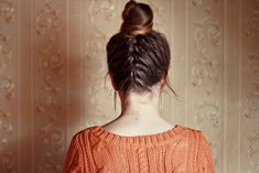 French Plait into Bun, Love! Gym Hairstyles, Straight Hairstyles, Braided Hairstyles, Hairdos, Messy Braids, Braids For Long Hair, Upside Down Braid, Bridal Hair Inspiration, A Boutique