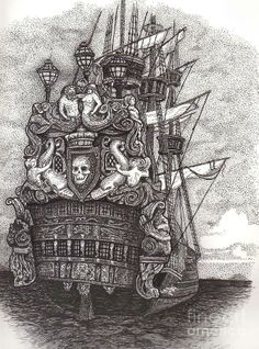 Old Pirate Ships | Pirate ship Drawing by Tanya Crum - Pirate ship Fine Art Prints and ...