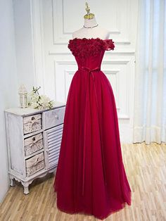Long Princess Evening Dresses, Burgundy Short Sleeve With Sequin Floor-length Evening Dresses