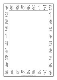Number A4 Page Borders - Black and White (SB11411) - SparkleBox