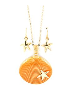 Shell Pendant Necklace and Earrings in Soft Coral Wash