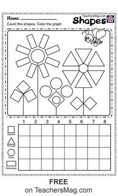 Shapes and Colors Worksheets for Kindergarten Students Grade R Worksheets, Shape Worksheets For Preschool, Shapes Worksheet Kindergarten, Graphing Worksheets, Shapes Worksheets, Preschool Learning Activities, Free Printable Worksheets, Shape Activities, Kindergarten Drawing