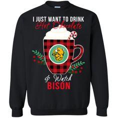 North Dakota State Bison Ugly Christmas Sweaters Just Wanna Drink Hot Chocolate & Watch Sweatshirts