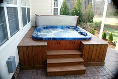 stamped concrete patio with hot tub #Raleigh #NC