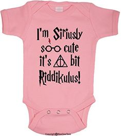 Im Siriusly Soo Cute Its A Bit Riddikulus Funny Harry Potter Baby Wizard Onesie Boys and Girls by BeeGeeTees 6 Months 3 Pink *** Click image to review more details.Note:It is affiliate link to Amazon.