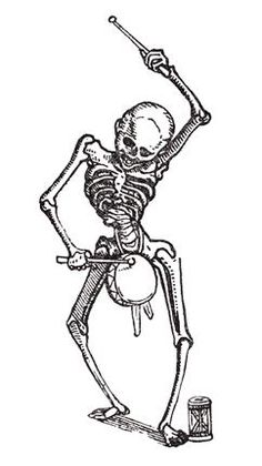 Hans Holbein's Dance of Death - skeleton drumming on a drum
