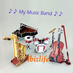 3D PUZZLE DIY jigsaw model MusicBand set as gift - 4 Piano-Violin-Drum-saxaphone (PC40) - ♫ Imagine to keep a music band on your Desk or on your dinning room cabinet is a nice decoration. ♫