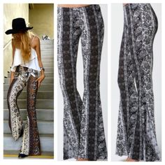 Black and Grey Paisley bell bottom ❤️❤️ NEW Printed  bell bottom pants Has very good stretch , makes your legs and butt looks Amazing!!  Lightweight jersey knit rayon .  Elastic waist and travels effortlessly into wide-flaring pant legs .  Unlined 95%Rayon. 5% spandex   S/2-4,M/4-6,L/6-8.ted bell bottom pants.  Un-hemmed .  COMMENT ON YOUR SIZE AND ALLOW ME TO CREATE A LISTING FOR YOU.  Price is firm unless bundle .  #S4P3583G98 Flirty Meow Boutique Pants Boot Cut & Flare