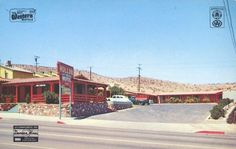 Old 1940s postcard showing the Hollon Motel on Route 66 in Barstow, California