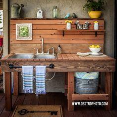 Outdoor Kitchen Sink. DIY Sink. Mason Jars.
