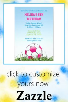 Shop Girls Pink Ball Soccer Invitation created by PixelPlace. Personalize it with photos & text or purchase as is! Soccer Birthday Parties, Sports Birthday, Soccer Party, Sports Party, 8th Birthday, Custom Invitations, Party Invitations, Pirate Birthday Invitations, Girl Pirates