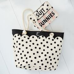 This breezy tote is the ultimate accessory for long days at the beach or pool. Boasting a touch of playful charm and a dash of glamour, it's designed exclusively for PBteen by celebrity stylists and fashion designers Emily Current and Meritt Elliott and captures their classic and rebellious aesthetic.  Pottery Barn Teen x Emily & Meritt Black/White Dot Rope Beach Tote