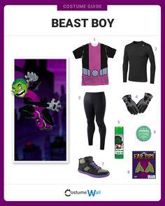 Turn green like Beast Boy a founding member of the DC Comics superhero group Teen Titans appearing on Cartoon Network. Cool Superhero Costumes, Diy Costumes For Boys, Superhero Groups, Halloween Costumes For Teens, Boy Costumes, Super Hero Costumes, Cosplay Costumes, Group Costumes, Costume Ideas