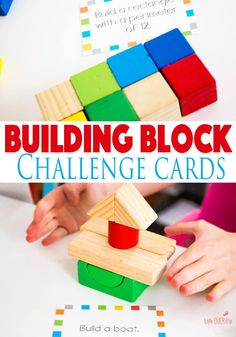 These Building Block STEM challenge cards are a great way to work engineering, math, planning and more into your school day! Or use them just for fun! Try these great building block activities today! Steam Activities, Hands On Activities, Learning Activities, Preschool Activities, Space Activities, Holiday Activities, Educational Activities, Preschool Centers, Stem Learning