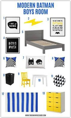 Modern batman themed boys room decor ideas. Love the bright cobalt blue and pops of yellow. A bright and cheery room for boys!