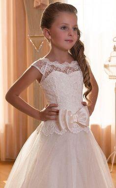 Encargo de Vintage encaje satén tul flor chica vestido por JenzJemz