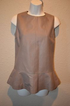 NWOT Sz 38/4 S Brunello Cucinelli Brown Leather Sleeveless Back Zip Blouse Top #BrunelloCucinelli #LeatherTop #Casual
