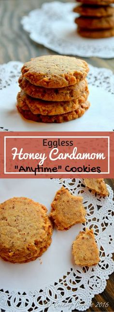 Eggless Honey Cardamom Anytime Cookies - Ready in Under 30 mins www.cookingcurries.com