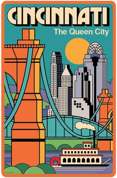 Cincinnati  Vintage Style Travel Poster by RedRobotCreative