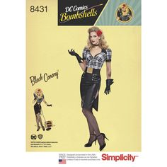 Set the stage with this Black Canary DC Comics Bombshell Costume. Modeled after a 1940s pin-up, this Misses' costume is perfect for your next cosplay event. Simplicity Cosplay sewing patterns.