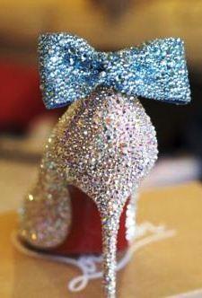 shoe heel bow glitter glittery silver blue