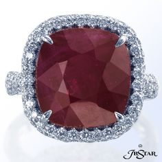 JB Star Cushion Cut Red Diamond Ring