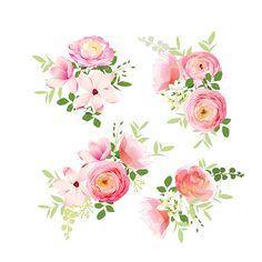Wedding bouquets of roses, magnolia, ranunculus vector design elements - ilustración de arte vectorial