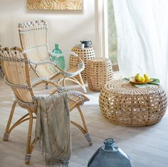 Settle-In White & Cappuccino Dot Rattan Lounge Chair and Ottoman from Vivaterra