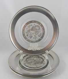 3 Vintage Silver Damask Glass Salad Dessert Plates VGC Briard Pattern Plate | eBay
