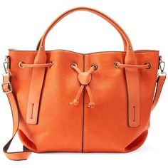 Mellow World Viviana Convertible Bucket Tote ($63) ❤ liked on Polyvore featuring bags, handbags, tote bags, orange, orange tote bag, orange tote, red tote, faux leather tote and man bag