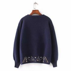 Women Fashion Sweater Moon Star Embroidery Knitting Sweaters O-Neck Winter Warm Pullover Sweater Casual Girls Tops Sweater Girls Crop Tops, Pullover Sweaters, Knitting Sweaters, Crop Top Sweater, Cardigan Fashion, Long Sleeve Crop Top, Casual Tops, Sweaters For Women, Womens Fashion