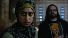 "Trenton (Sunita Mani) and Mobley (Azhar Khan) in season 2, episode 8 of Mr. Robot, ""eps2.6_succ3ss0r.p12."""