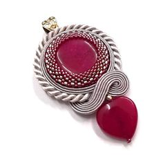 "Soutache pendant ""Pink Heart"", pendant with jade, jade pendant, jade soutache, heart pendant, romantic jewelry"