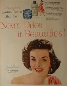 JANE RUSSELL for Lustre Creme Shampoo c. 1940's