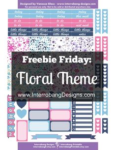 Free Printable Floral Theme Planner Stickers from Interrobang Designs